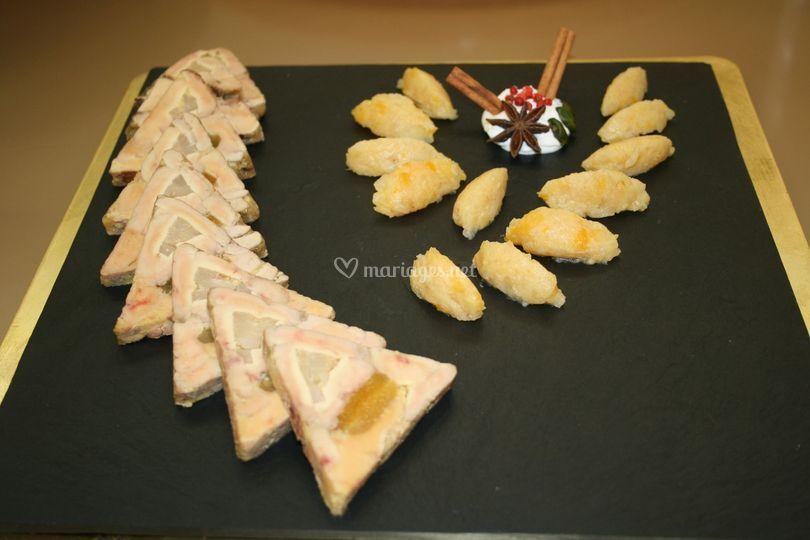 Foie gras poire et abricot