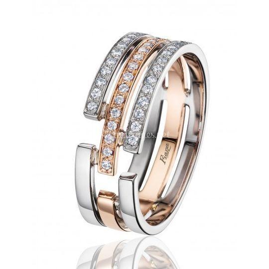 Bague diamants bicolore