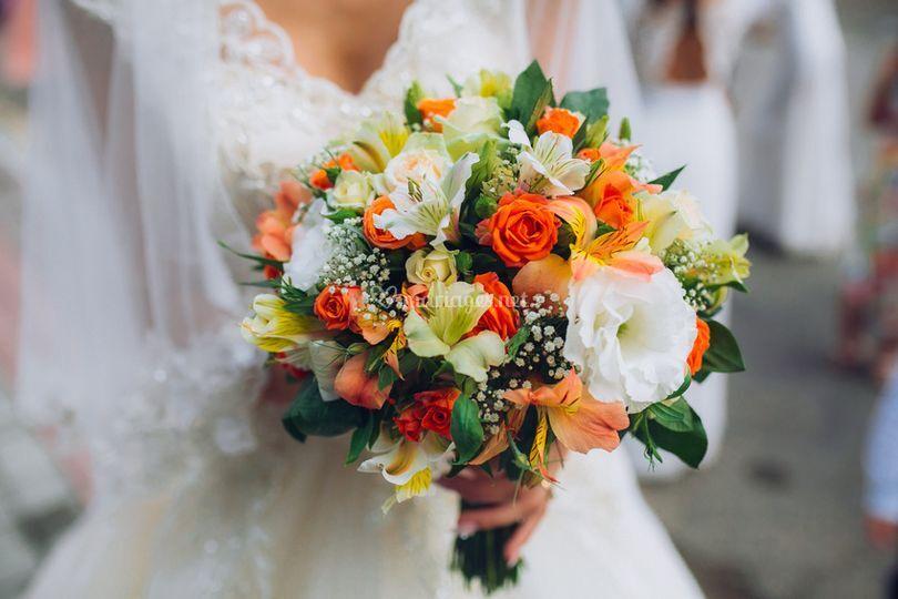 Bouquet orange & blanc