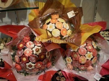 Bouquets de fleurs en chocolat
