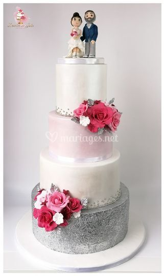Wedding cake argent rose nacré