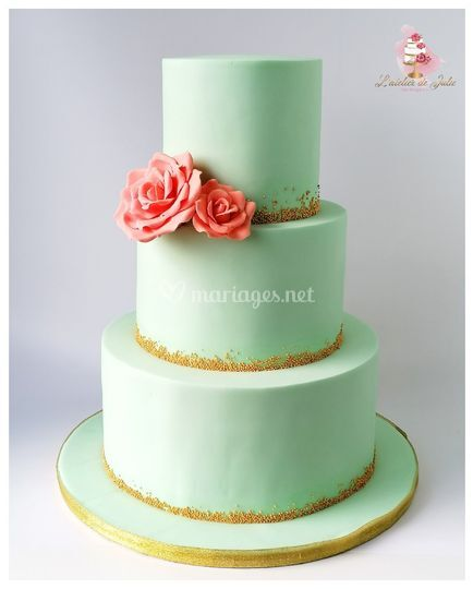 Wedding cake mint et pêche