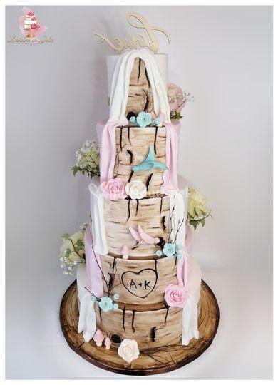 Wedding cake double thème bois