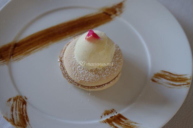 Macaron café et glace cognac