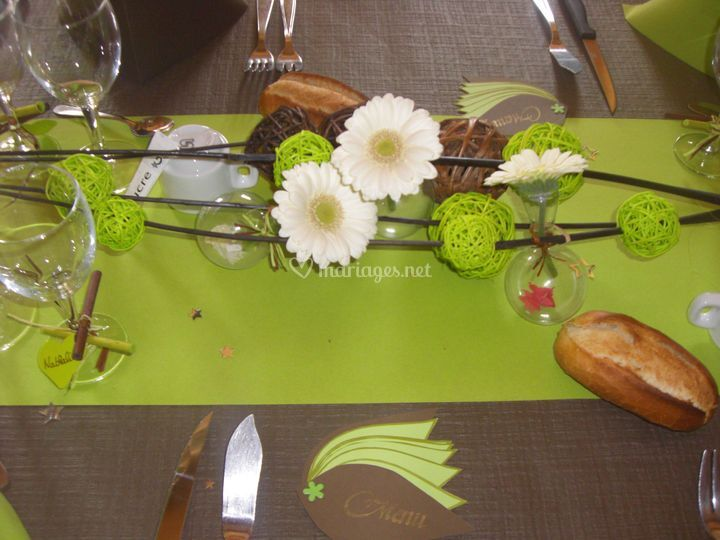 Labelle d co for Centre de table vert anis