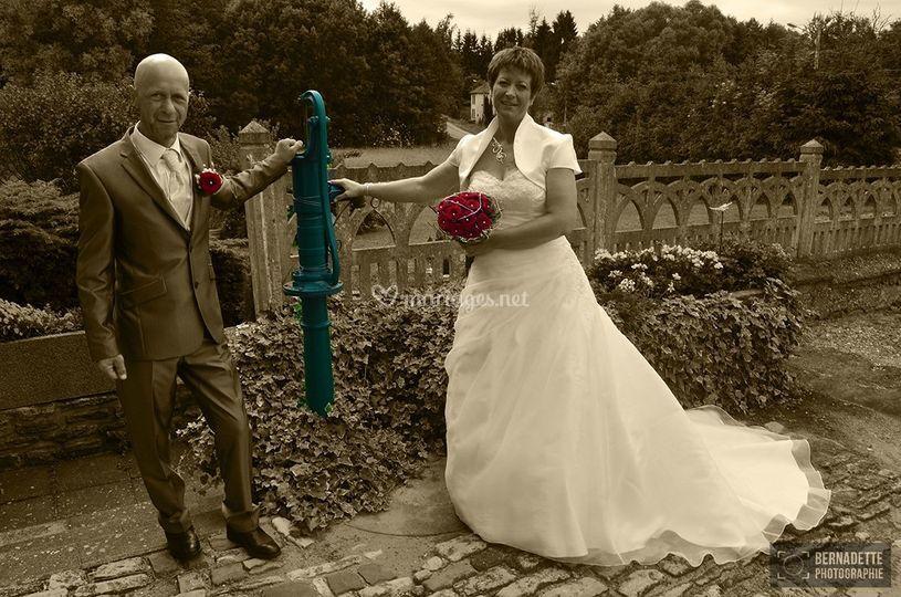Photo de mariés avec effets