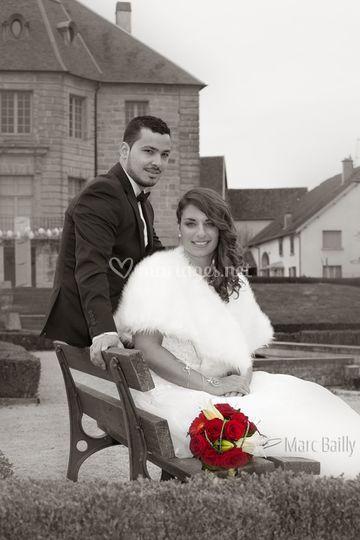 Mariage noir et blanc couleur