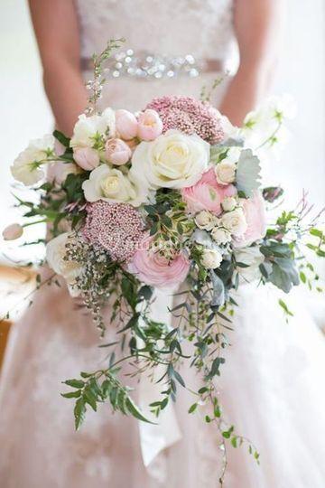 Bouquet mariée vinyage pastel