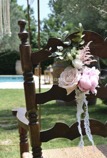 Bouquet de chaise rose poudré