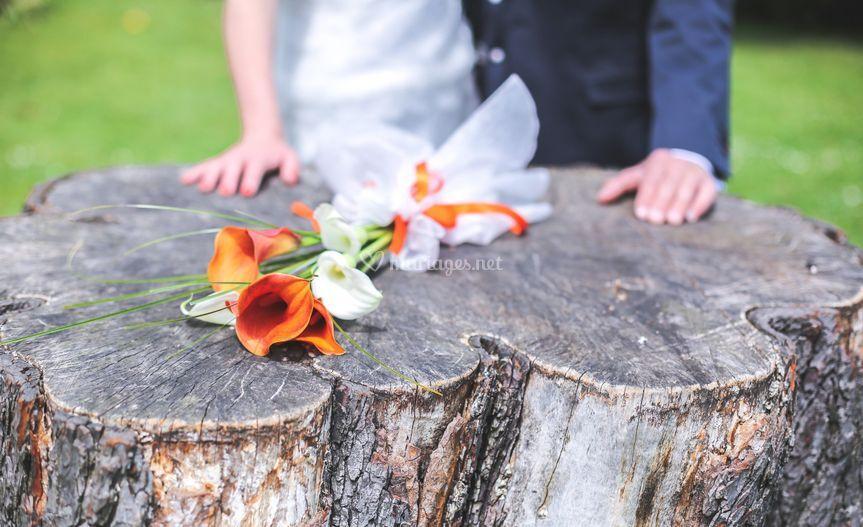 Photo des mariés, bouquet