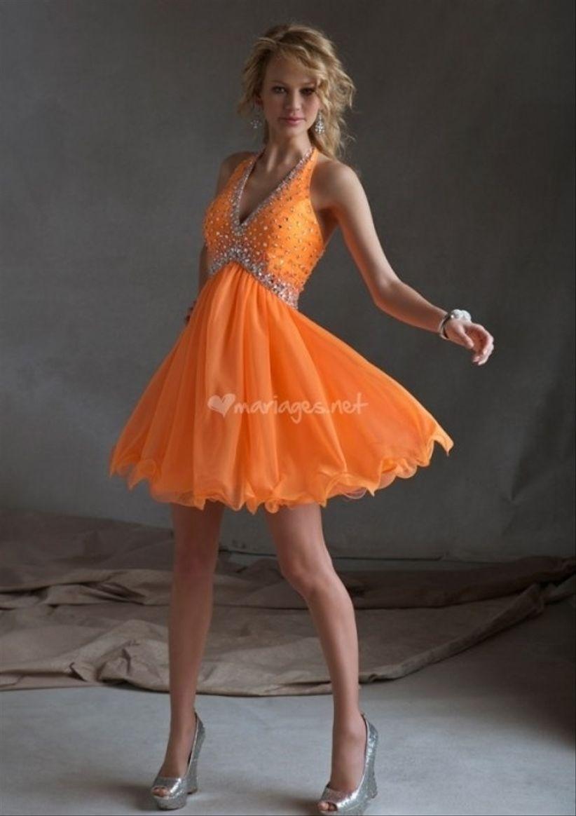 Robe cocktail mariage orange
