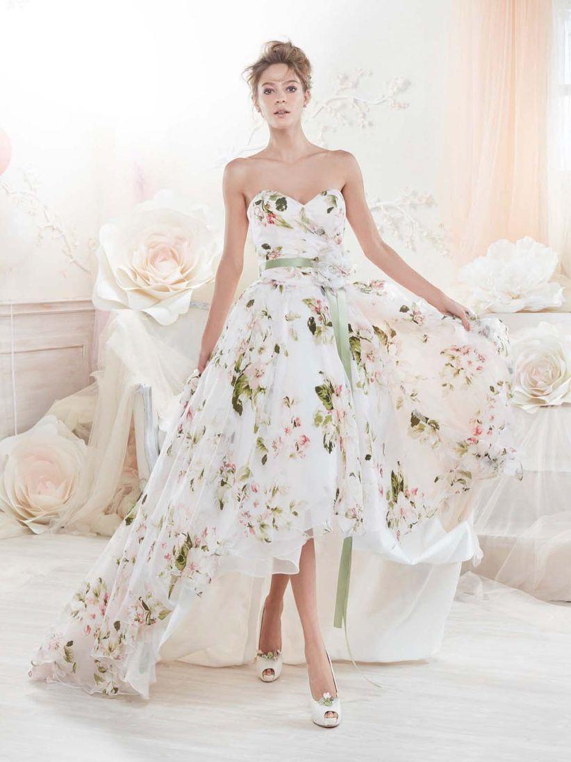 Robe de marie rose et blanche