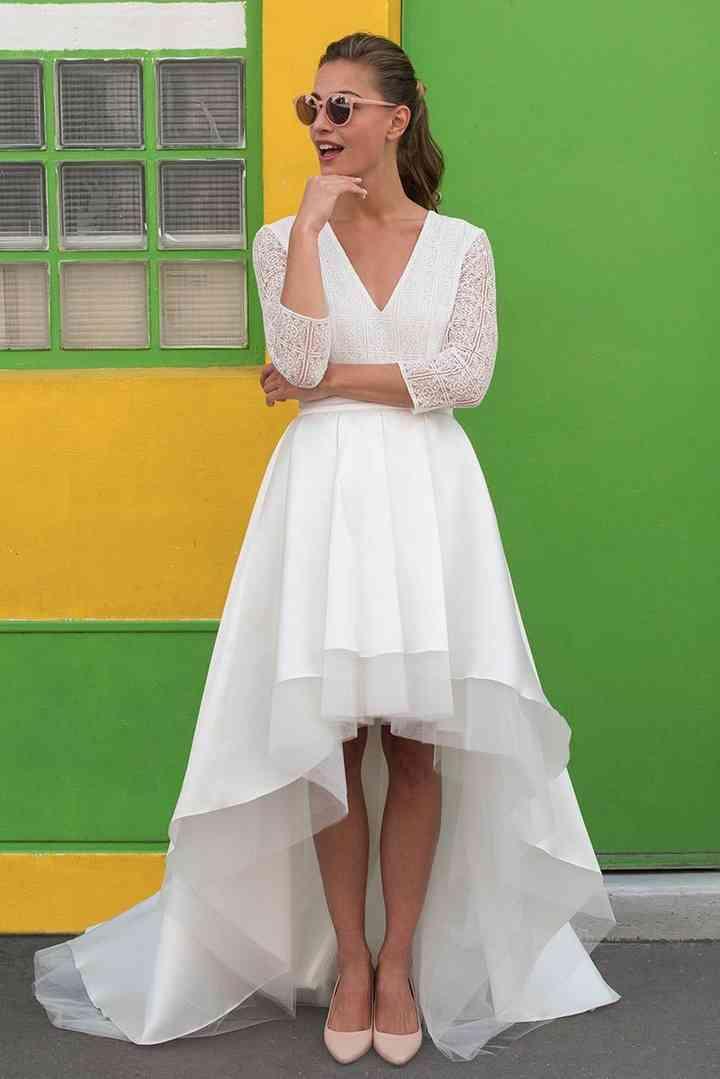 handicaps structurels meilleurs prix meilleur prix pour 27 robes de mariée longues derrière et courtes devant