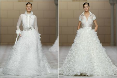 Robes de mari�e avec plumes