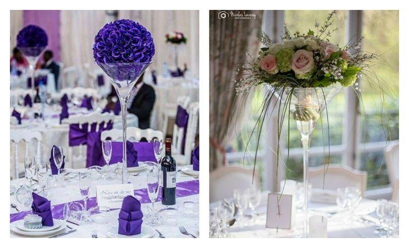 6 d corations de centres de table avec des vases martini - Vase en plastique pour centre de table ...