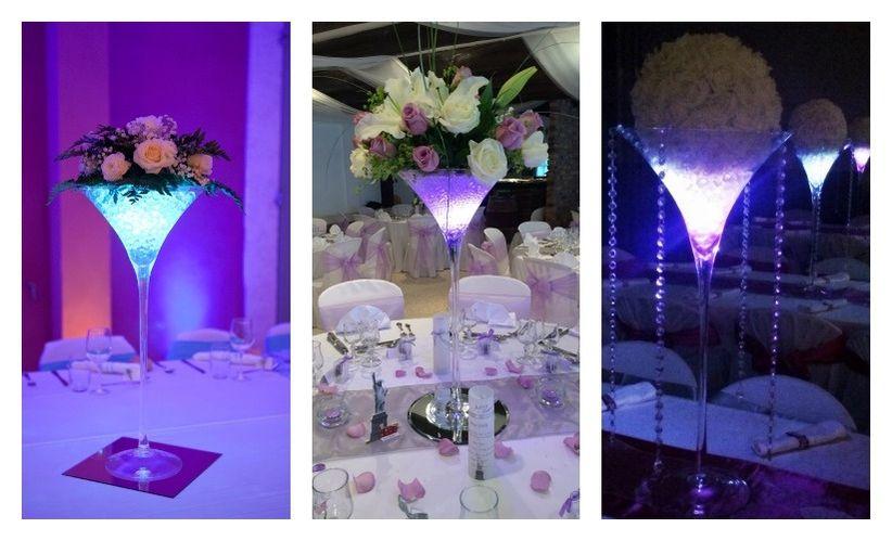 6 d corations de centres de table avec des vases martini - Decoration de table lumineuse ...