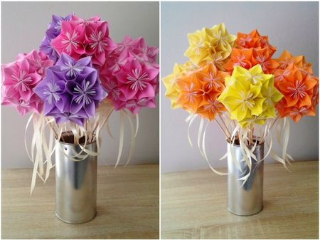 DIY bouquet de fleurs en origami