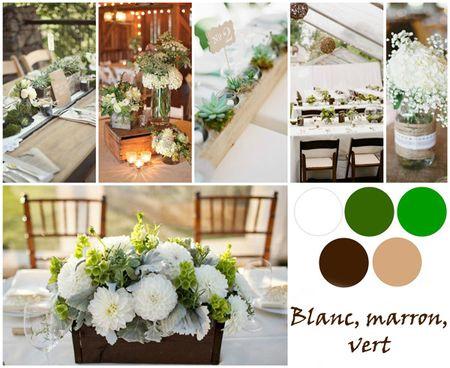 Idées déco mariage blanc, marron et vert