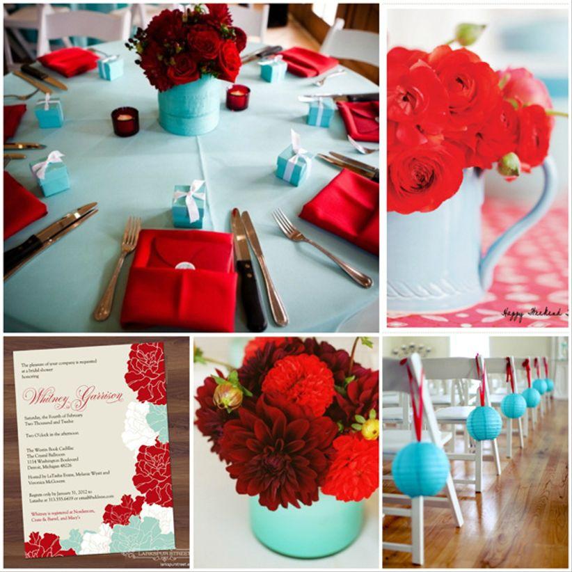 Idées déco mariage rouge turquoise et blanc