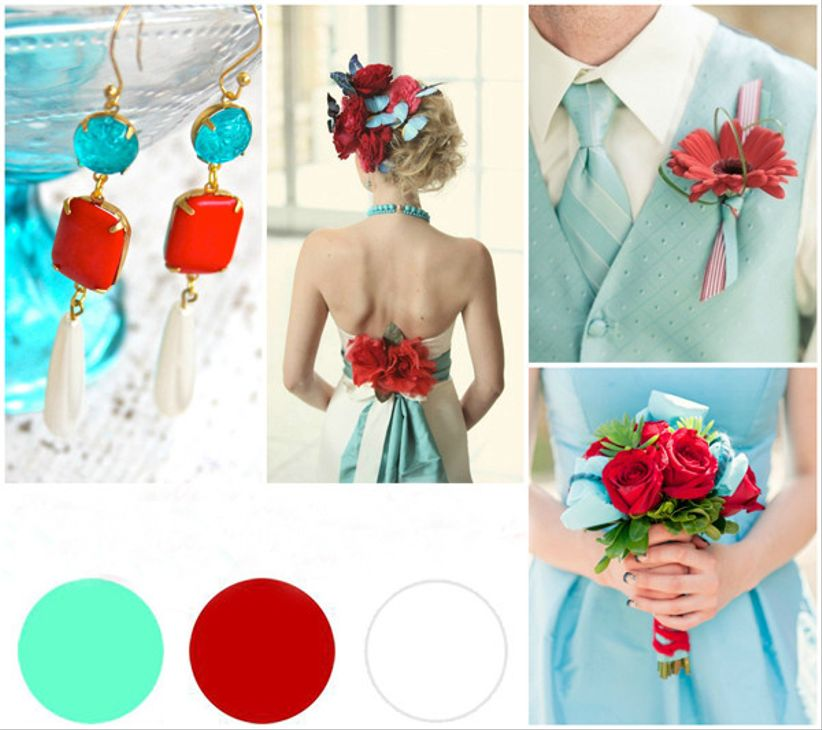 Id es d co mariage rouge turquoise et blanc for Deco rouge et turquoise