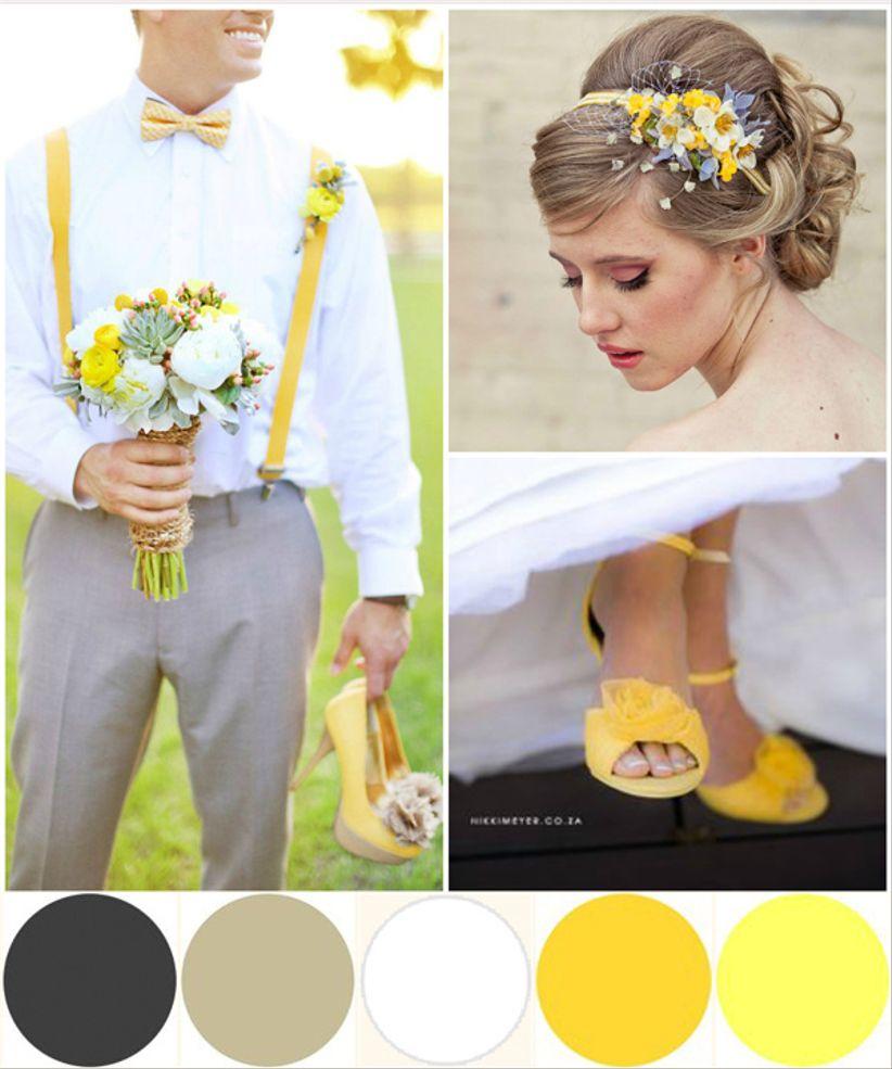 Id es d co mariage jaune blanc et gris for Corredor deco blanco y gris