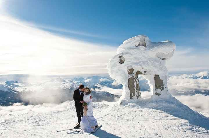 se marier en piste du haut de la montagne