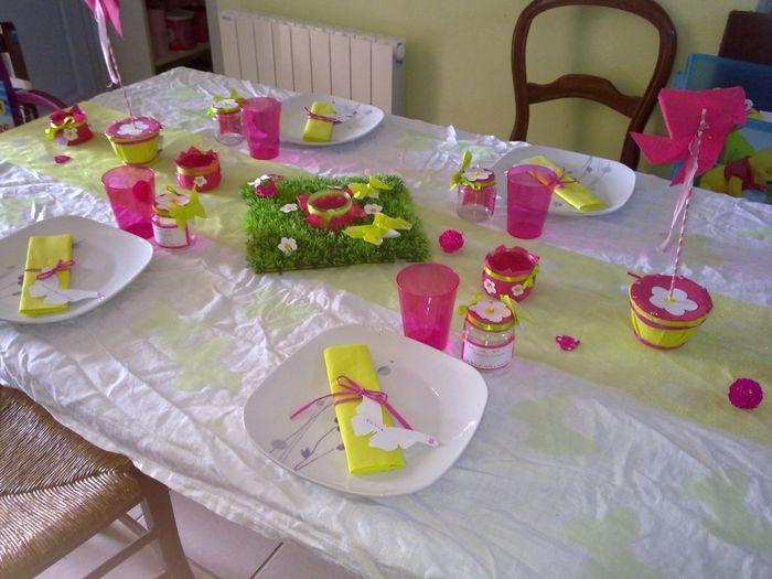 Déco de table vert anis blanc et fushia pour baptème - Décoration ...