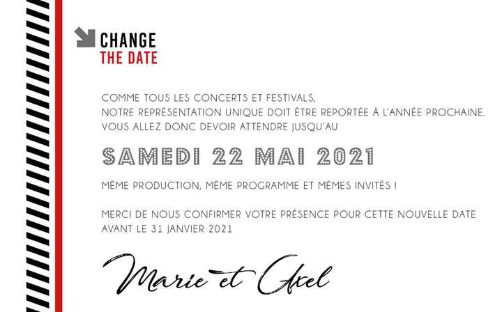 Report mariage et change the date - 1