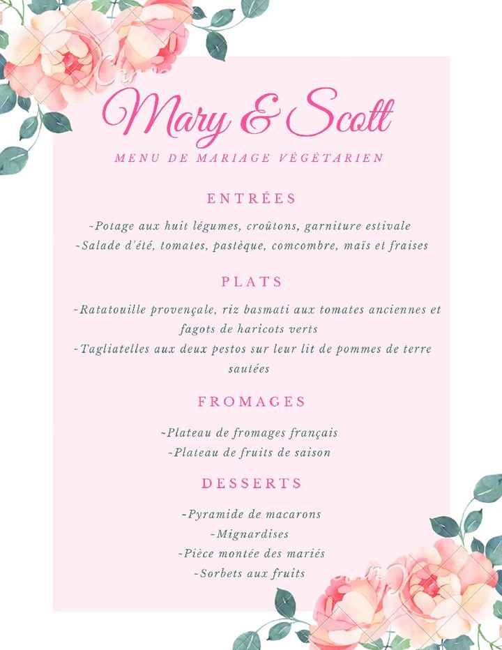 Le menu de ton mariage  🍽️ - 1