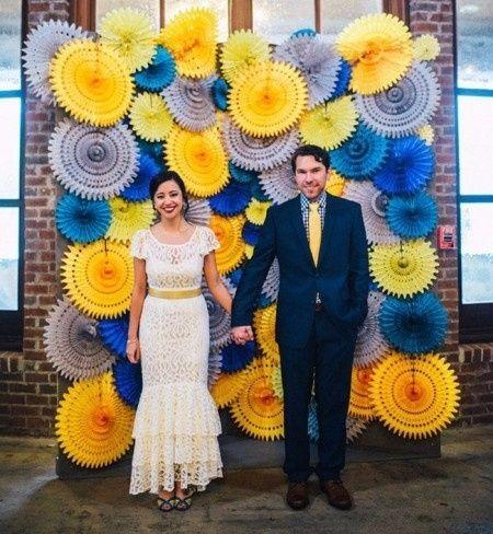Voici une inspiration de mariage présentant une combination de couleurs des  plus originales  le jaune et le bleu ! Qu\u0027en pensez,vous ?