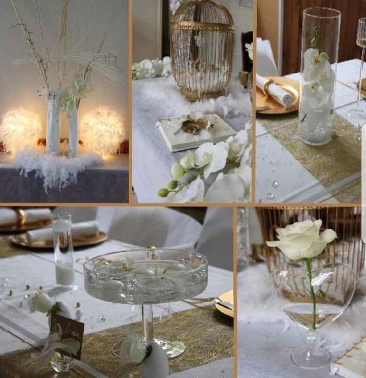 Décoration de la Table Blanc/or - 5
