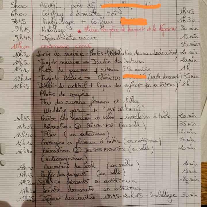 éBauche Planning jour j - 1