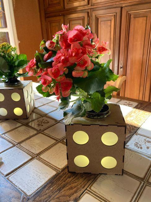 Centres table avec plantes au lieu de fleurs coupées 2