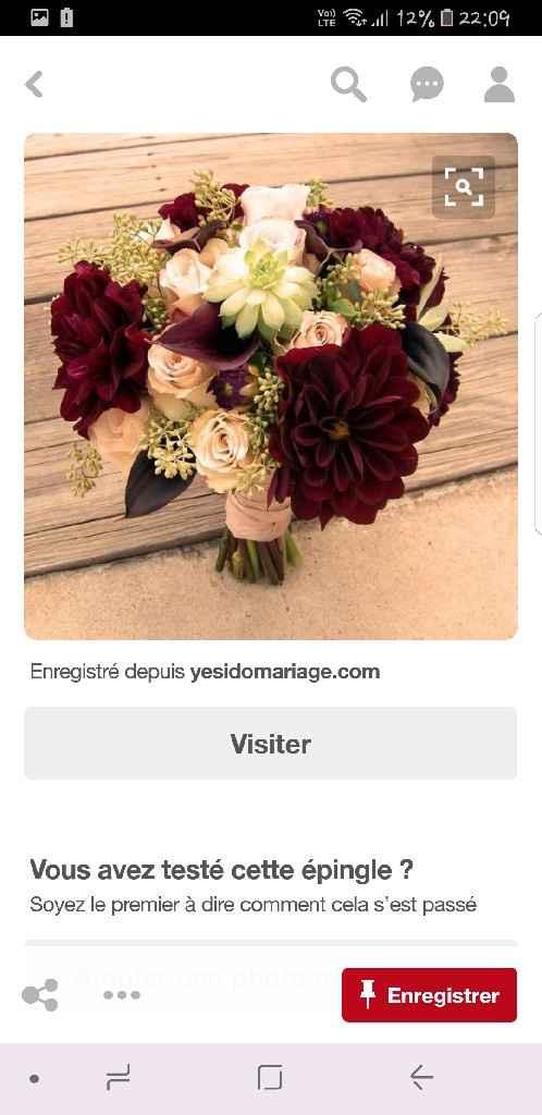 Bouquet mariée bordeau et blanc (creme) - 1