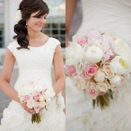 Bouquet pivoine blanche et rose