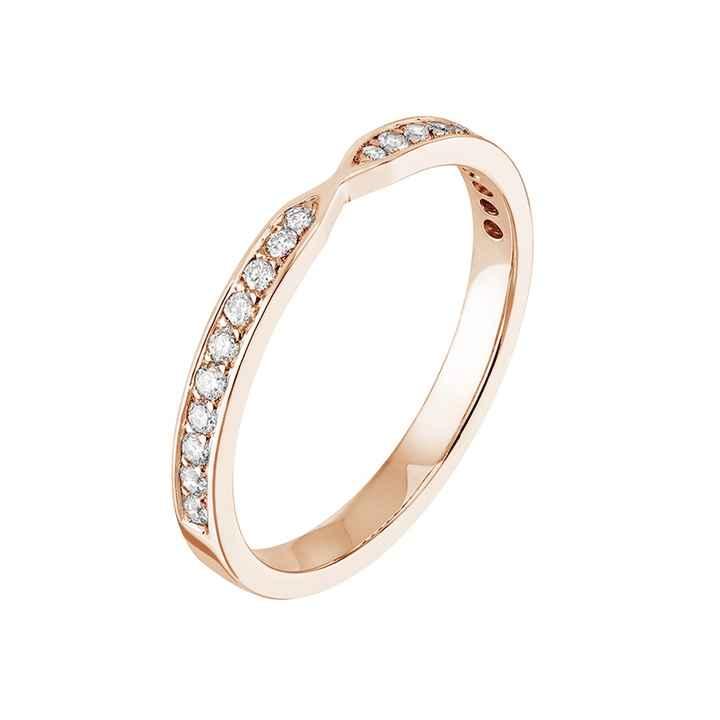Alliance Lady Jonc Pavée or rose et diamants