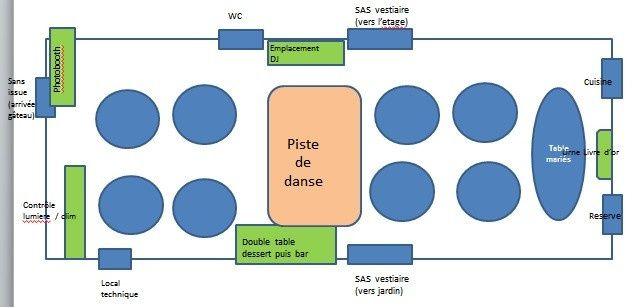 Disposition tables et emplacement piste de danse 1