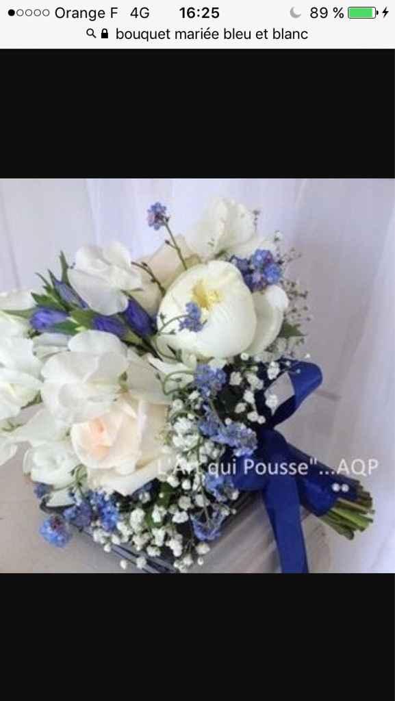 Sélections de bouquet de mariée bleu marine et blanc - 3