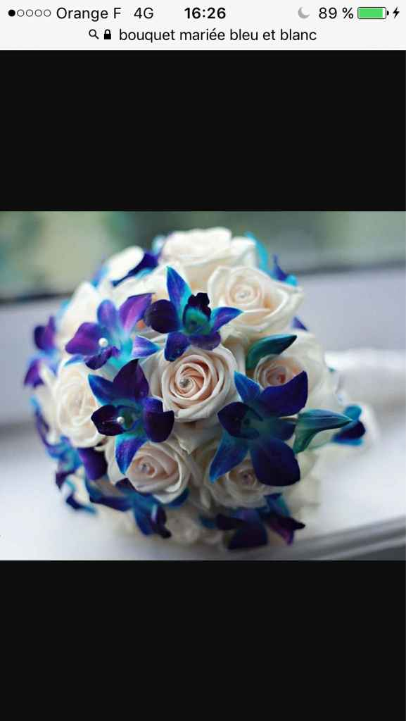 Sélections de bouquet de mariée bleu marine et blanc - 4