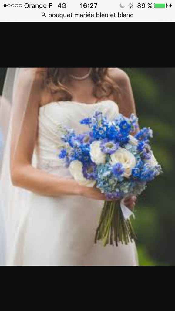 Sélections de bouquet de mariée bleu marine et blanc - 7