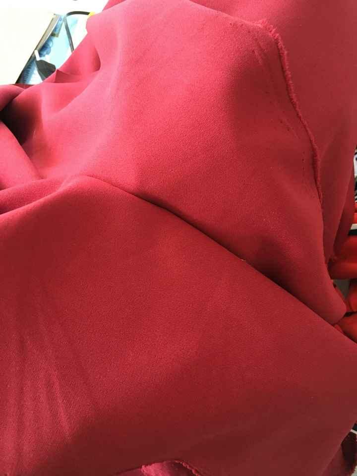 Tissu lin rouge au mètre - 1