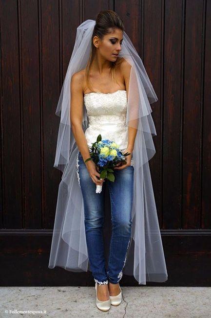 Blue Jean Top Wedding Dress.