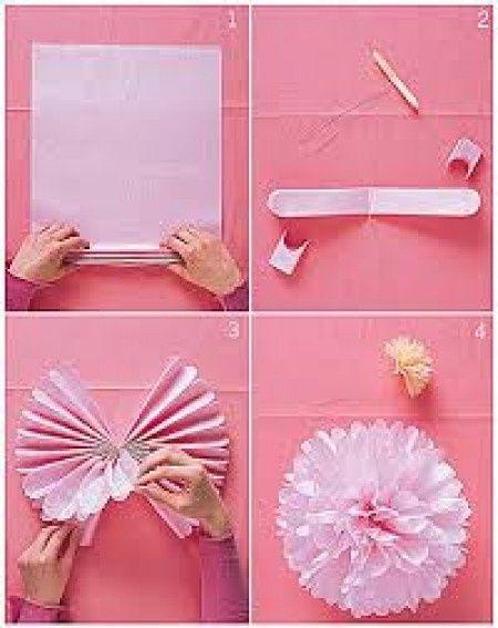 Pompons en papier de soie d coration forum - Boule de fleur en papier crepon ...