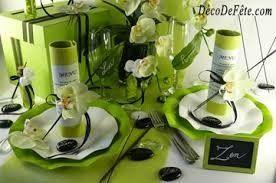 Decor Table Ecru Vert Et Gris Anniversaire
