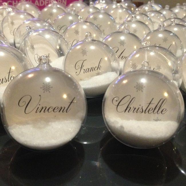 Id es de cadeaux pour un mariage en hiver organisation for Porte nom de table noel