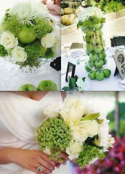Décoration Pomme Verte et Rose Blanche