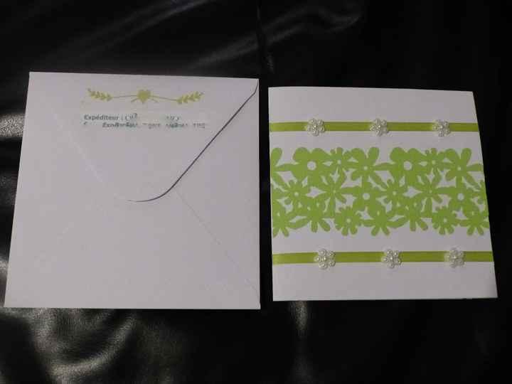 Le faire-part et l'enveloppe (derrière)