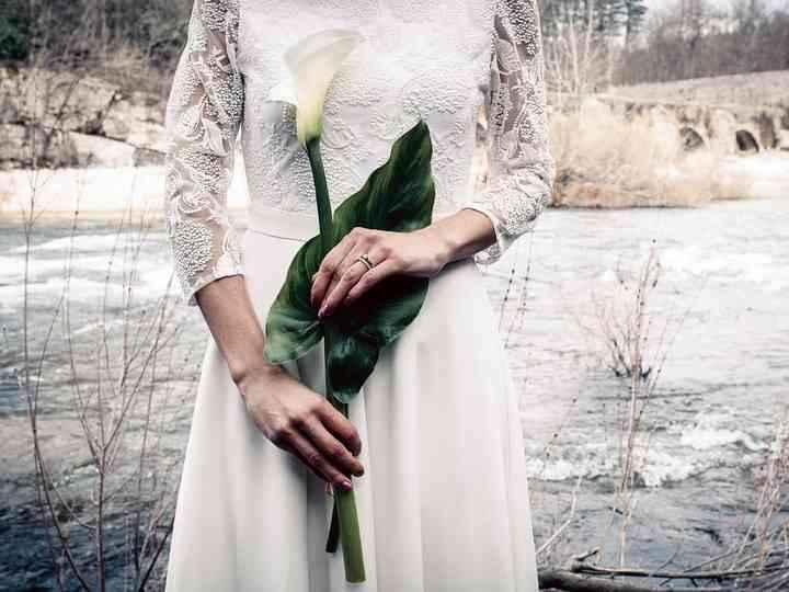Couleurs bouquet robe Champagne dentelle ivoire 6