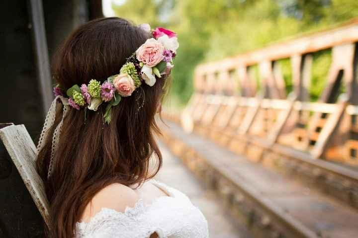 Couronne fleurie et bouquet bohème - 2