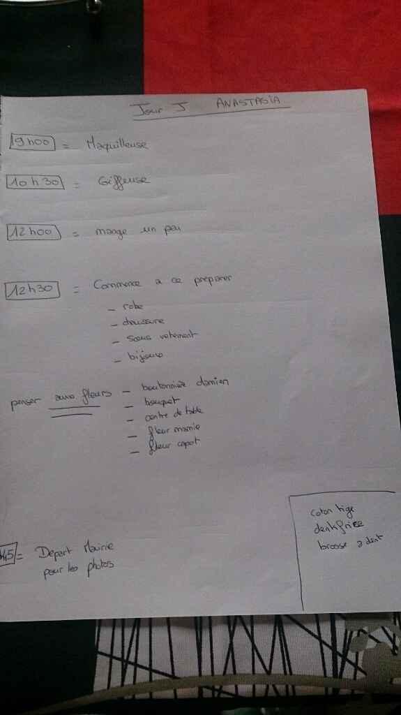 Planning jour j - 1